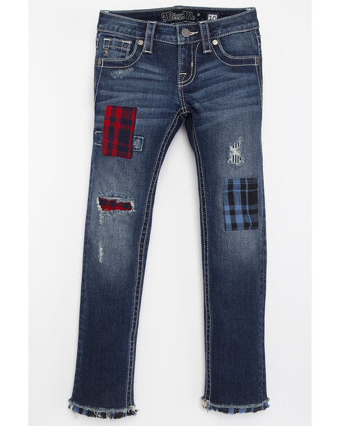 Miss Me Girls' Patchwork Skinny Jeans, Blue, hi-res