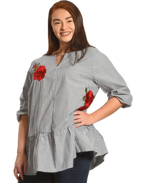 Moa Moa Women's Striped Floral Applique Long Sleeve Shirt - Plus, Grey, hi-res