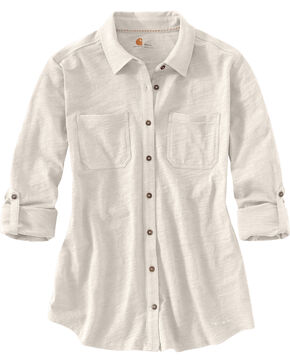 Carhartt Women's Long Sleeve Medina Shirt, Cream, hi-res