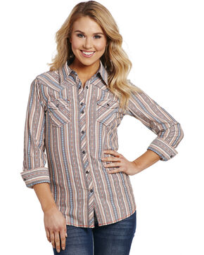 Cowgirl Up Women's Tan Vertical Strip Shirt , Tan, hi-res