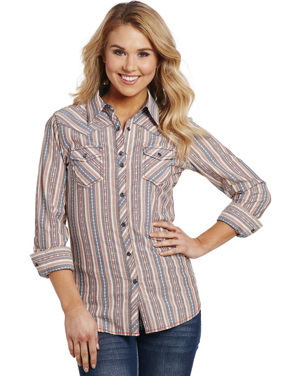 Cowgirl Up Women's Tan Vertical Strip Shirt , Tan, hi-res