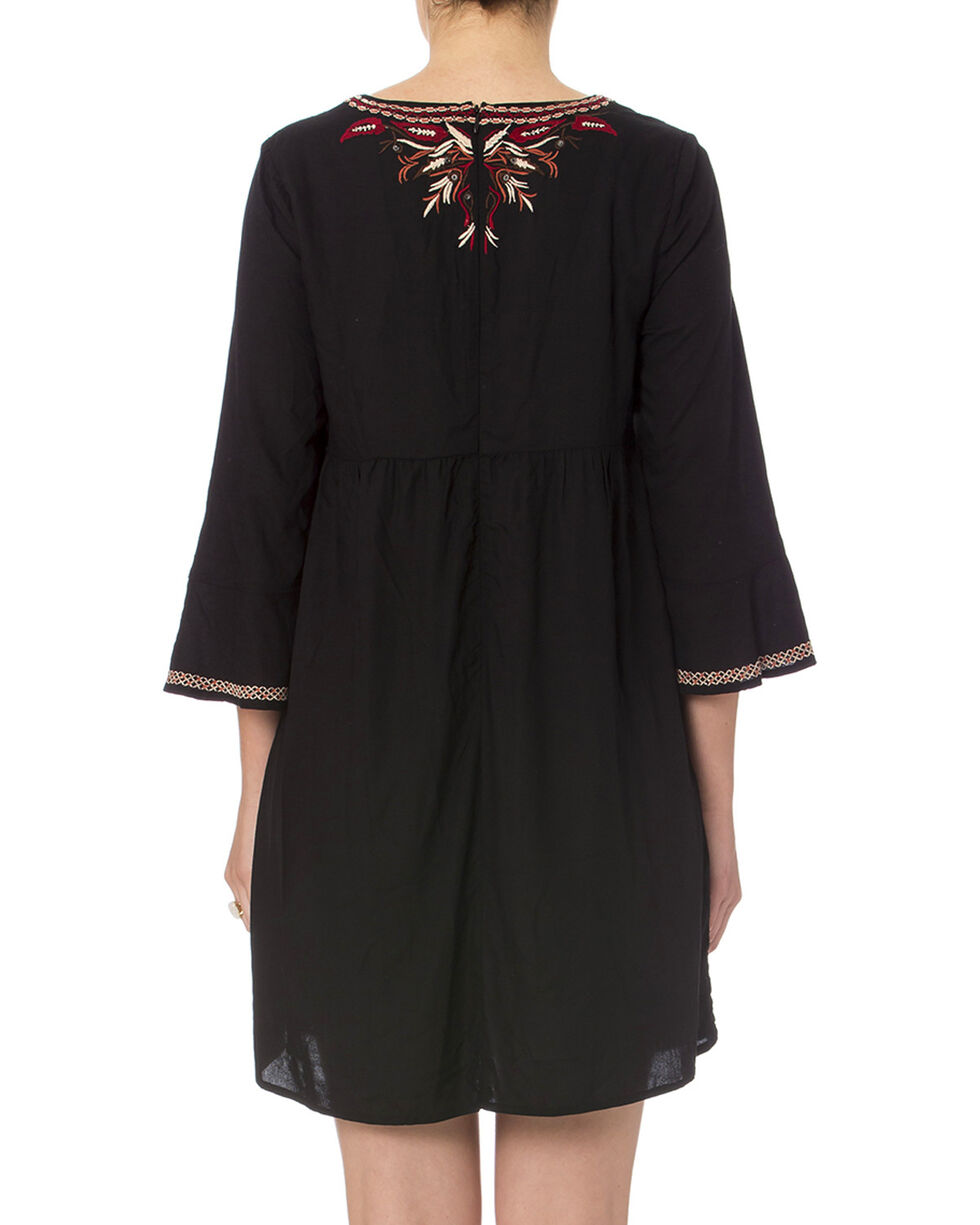 Miss Me Women's Black Embroidered Peasant Dress , Black, hi-res