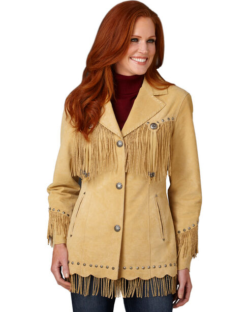Cripple Creek Suede Leather Fringe Jacket, Tan, hi-res