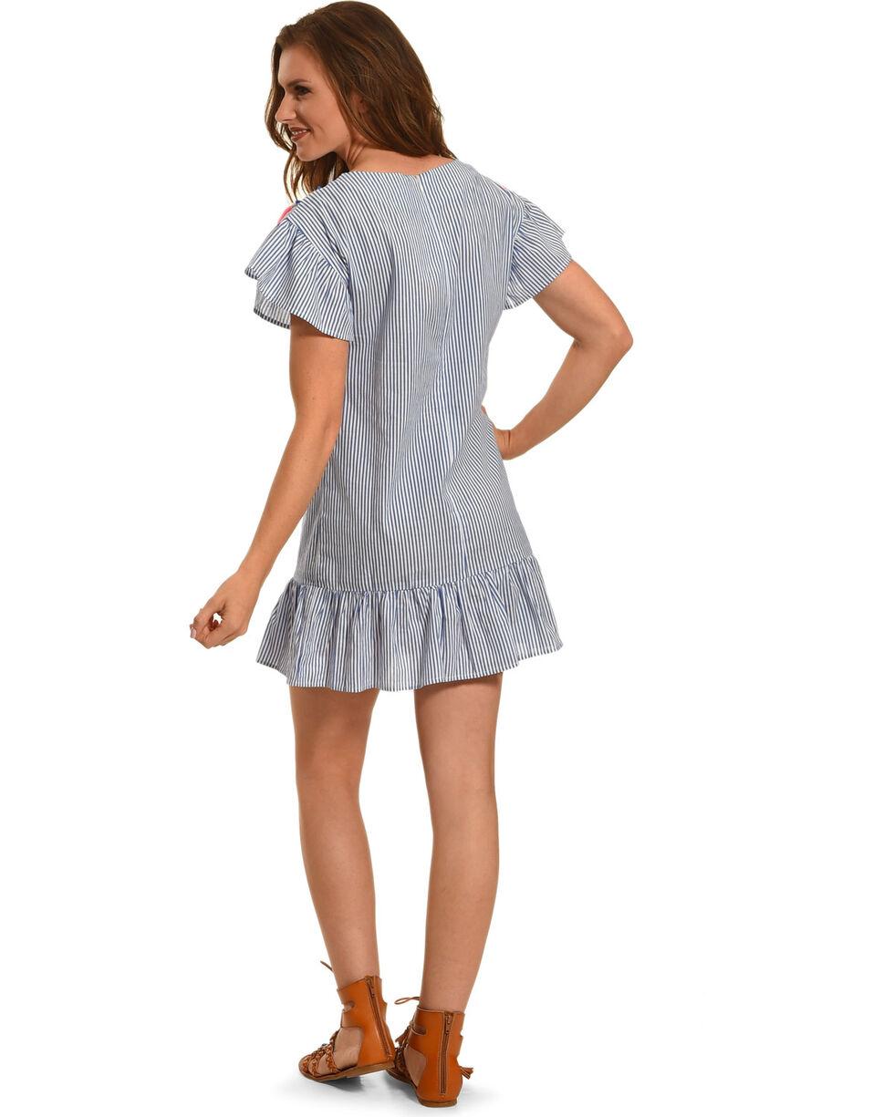 Young Essence Women's Tassel Stripe Dress, Blue, hi-res