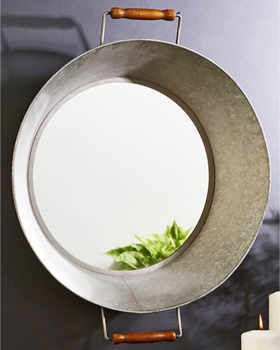Giftcraft Galvanized Metal Wall Mirror , Steel, hi-res