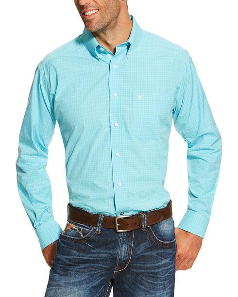 Ariat Men's Dominic Long Sleeve Shirt, Turquoise, hi-res