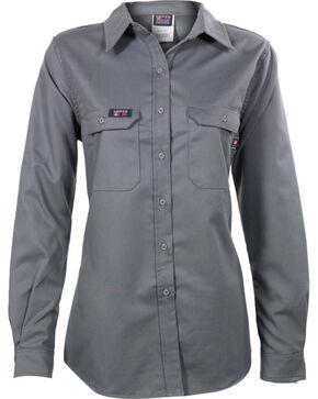 Lapco Women's Grey FR UltraSoft Uniform Shirt , Grey, hi-res