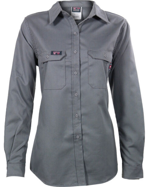 Lapco Women's Grey FR UltraSoft Uniform Shirt , Grey, hi-res