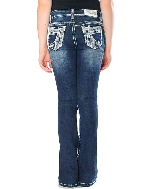 Grace in LA (7-16) Girls' Indigo Heavy Stitch Pocket Jeans - Boot Cut, Indigo, hi-res