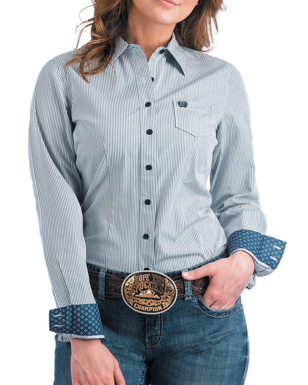 Cinch Women's Light Blue Striped Western Shirt , , hi-res