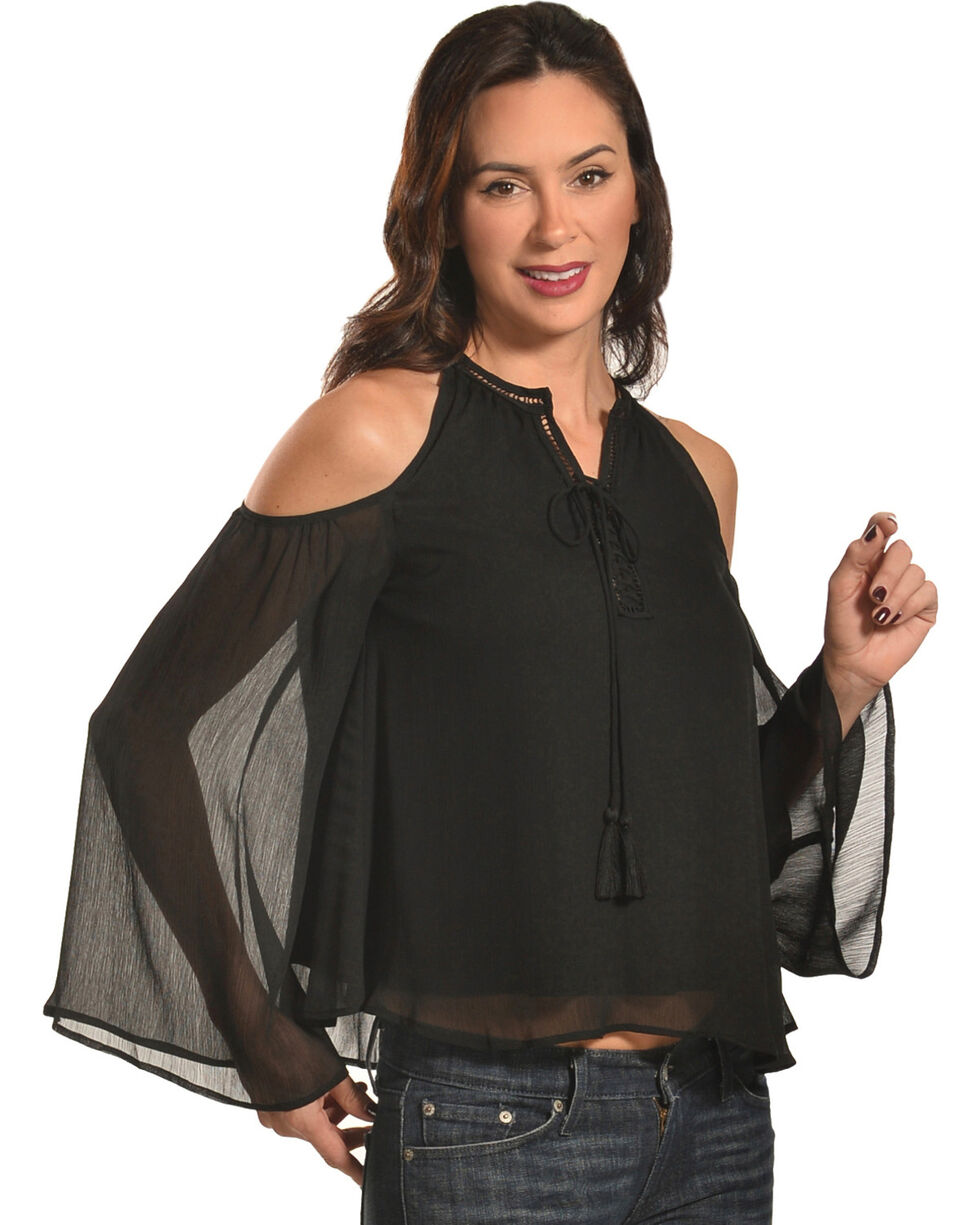 HYFVE Women's Cold Shoulder Blouse with Tassel Trim, Black, hi-res