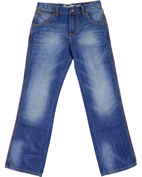 Wrangler Boys' Retro Relaxed Boot Cut Premium Denim Jeans, Blue, hi-res