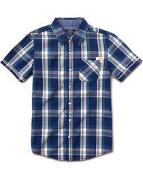 Silver Boys' Blue Short Sleeve Single Pocket Plaid Shirt , , hi-res