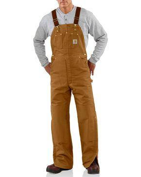 Carhartt Men's Duck Bib Quilt Lined Overall, Brown, hi-res