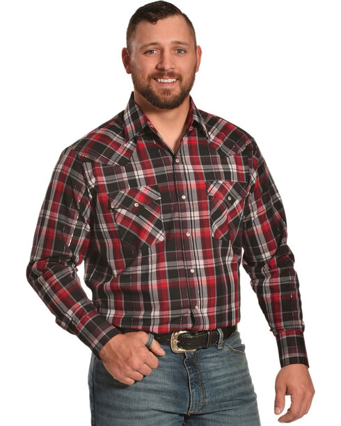Ely Cattleman Men's Red Lurex Plaid Shirt , Red, hi-res