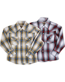 Ely Cattleman Boys' Assorted Washed Plaid Long Sleeve Shirt, , hi-res