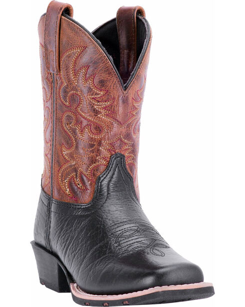Dan Post Youth Boys' Little River Western Boots - Square Toe, Black, hi-res