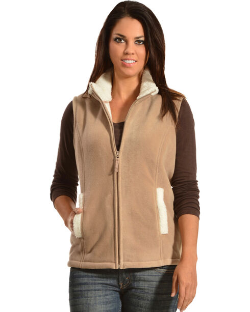 Jane Ashley Sherpa Fleece Vest, Khaki, hi-res
