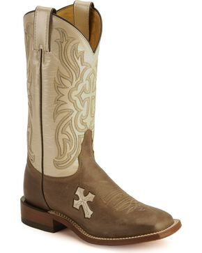 Tony Lama Women's San Saba Cross Western Boots, Tan, hi-res