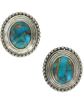 Sterling Lane Women's Copper Earth Turquoise Earrings , Silver, hi-res