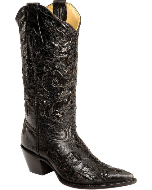 Corral Women's Sequins Inlay Western Boots, Black, hi-res