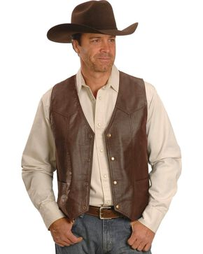 Western Yoke Genuine Leather Vest, Brown, hi-res