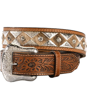 Nocona Triangle Concho Hair-on-Hide Tooled Belt, Tan, hi-res