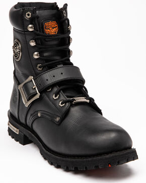 Milwaukee Leather Men's Black Buckled Lace-Up Boots - Round Toe , Black, hi-res