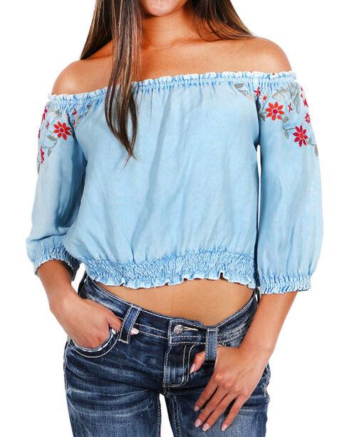 Tramp Inc Women's Floral Embroidered Off The Shoulder Top, Light Blue, hi-res
