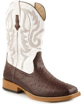 Roper Men's Ostrich Print Western Boots, Brown, hi-res