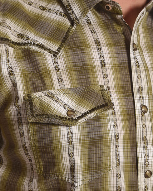Cody James Men's Standing Bear Plaid Striped Short Sleeve Shirt - Big & Tall, Olive, hi-res