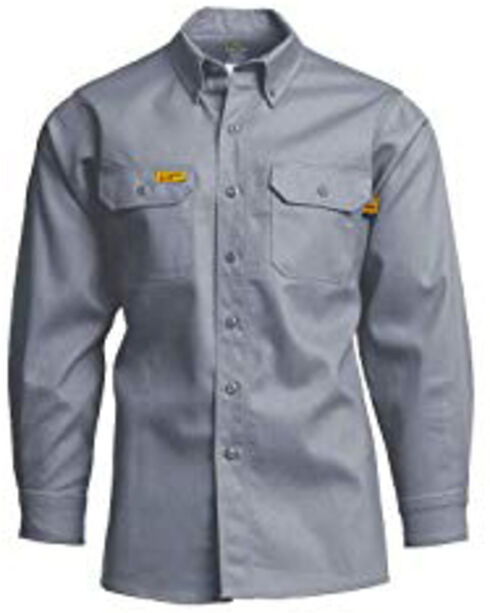 Lapco Men's Khaki FR Uniform Shirt , Grey, hi-res