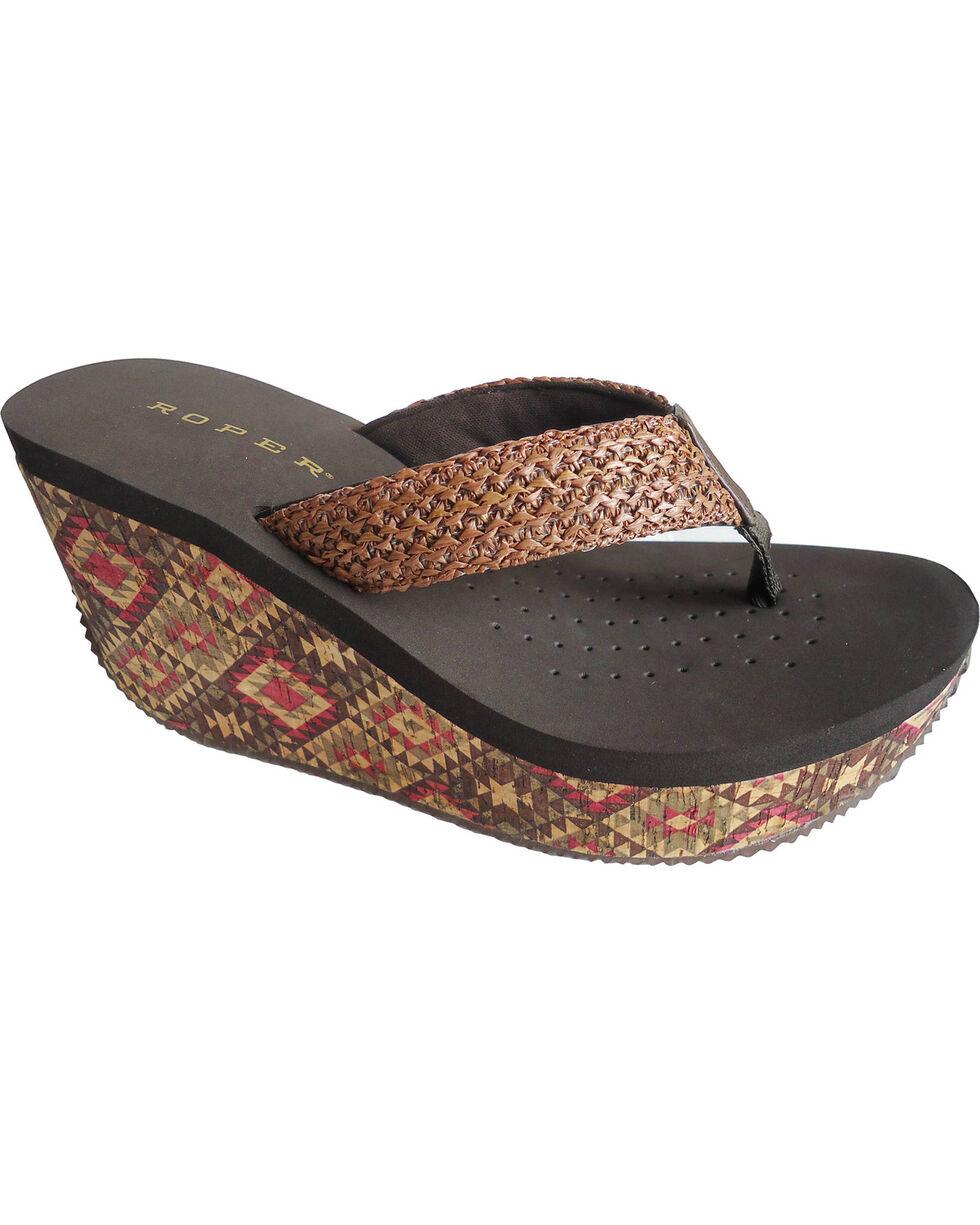 Roper Women's Azteckette Cork Wedge Sandals, Brown, hi-res