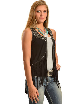 Rock & Roll Cowgirl Women's Fringe Vest, Black, hi-res