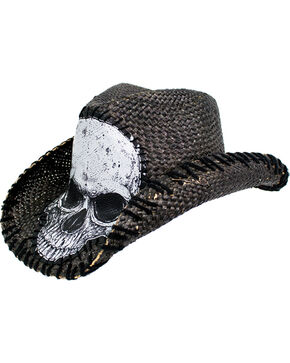 Peter Grimm Men's Tripp Straw Cowgirl Hat , Black, hi-res