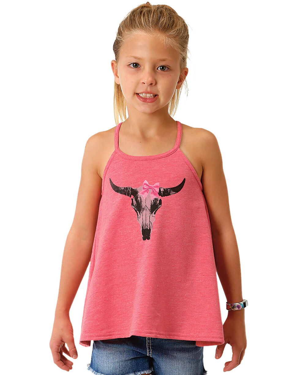 Roper Girls' Pink Skull Bow Tank , Pink, hi-res