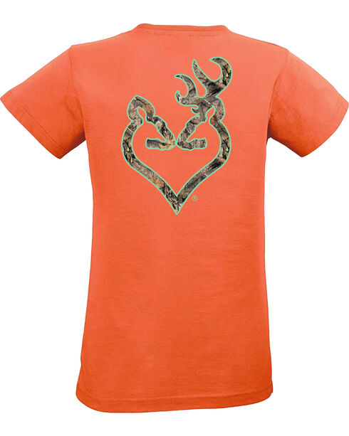 Browning Women's Mossy Oak Country Buckheart Papaya Short Sleeve Tee, Orange, hi-res