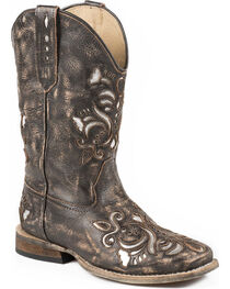 Roper Girls' Belle Silver Underlay Cowgirl Boots - Square Toe, , hi-res