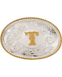 Montana Silversmiths Initial T Western Buckle, , hi-res