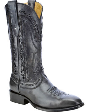Corral Men's Laser Cut Whip-Stitch Western Boots, Black, hi-res