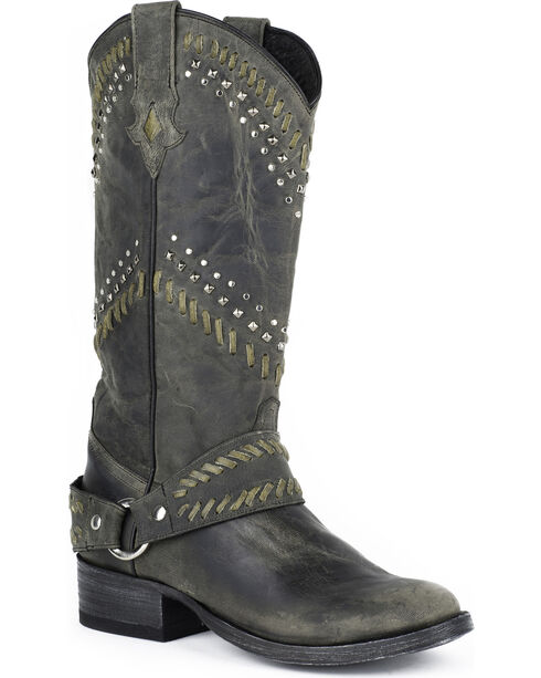 Stetson Women's Shiloh Buck Stitch Harness Boots, Black, hi-res
