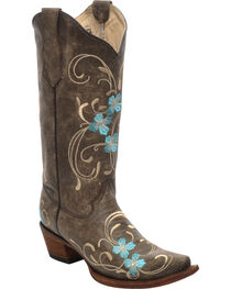 Corral Women's Cowhide Floral Western Boots, , hi-res