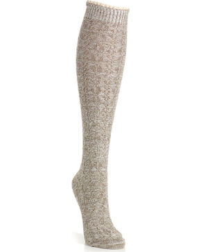 K. Bell Women's Ivory Random Feed Cable Knee High Socks , Ivory, hi-res