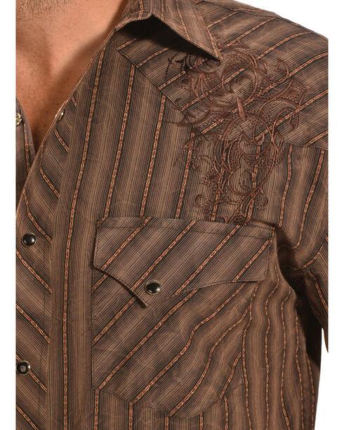 Crazy Cowboy Men's Brown Stripe Snap Shirt, Multi, hi-res