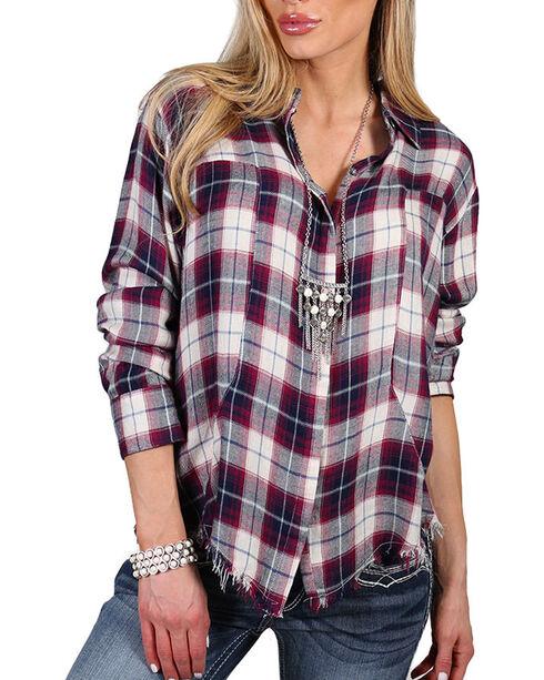 Signorelli Women's Frayed Hem Long Sleeve Shirt, Multi, hi-res