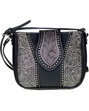 Montana West Trinity Ranch Genuine Tooled Leather Cross Body Purse , Black, hi-res