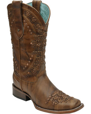 Corral Women's Studded Western Boots, Brown, hi-res