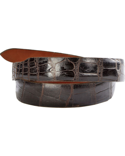 Lucchese Men's Cigar Alligator Leather Belt, Cigar, hi-res