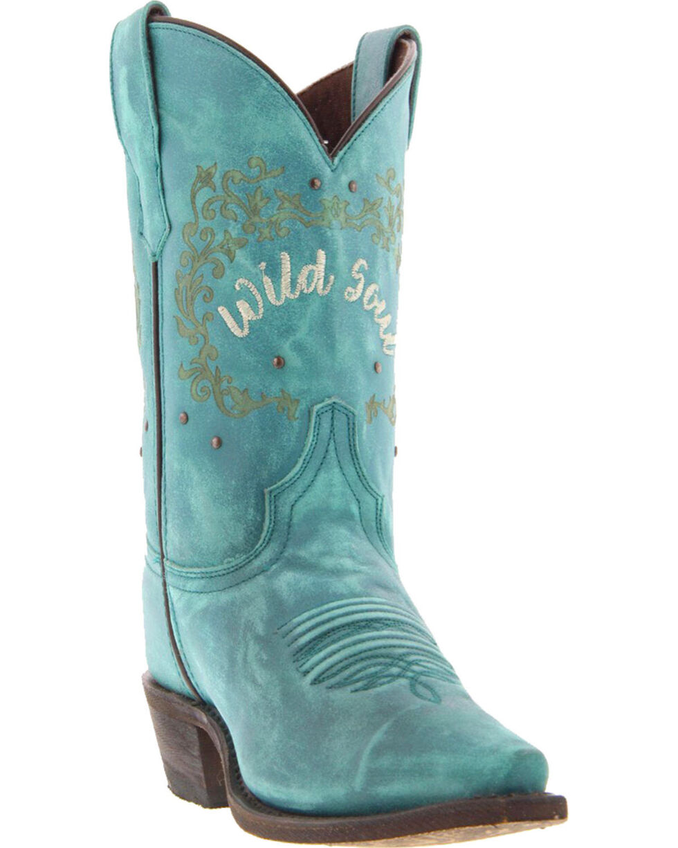 Laredo Women's Riled Up Turquoise Wild Soul Cowgirl Boots - Snip Toe, Turquoise, hi-res