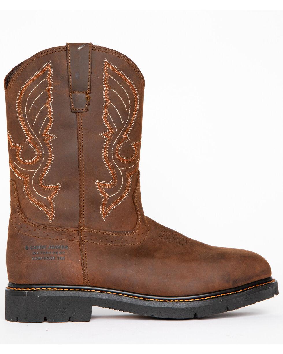 Cody James® Men's Waterproof Composite Toe Pull On Work Boots, Brown, hi-res
